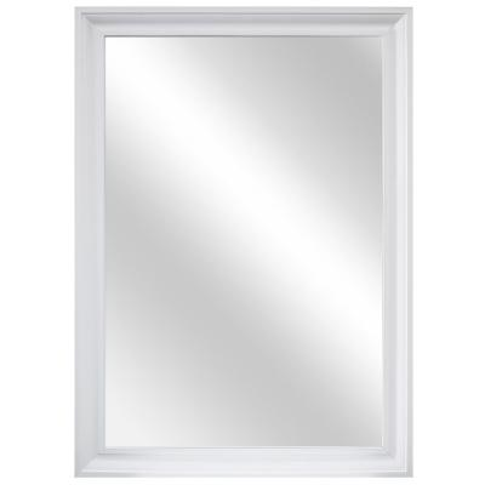 28 in. W x 40 in. H Framed Rectangular Anti-Fog Bathroom Vanity Mirror in White