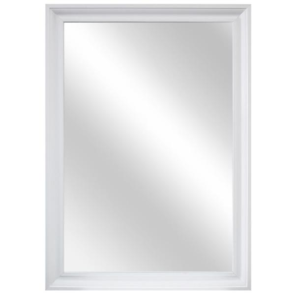 28 in. W x 40 in. H Framed Rectangular Anti-Fog Bathroom Vanity Mirror in White