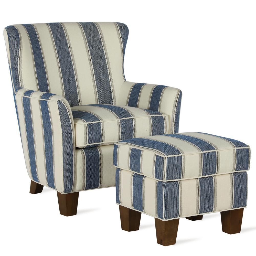 Dorel Living Pablo Blue Stripe Accent Chair Ottoman Set