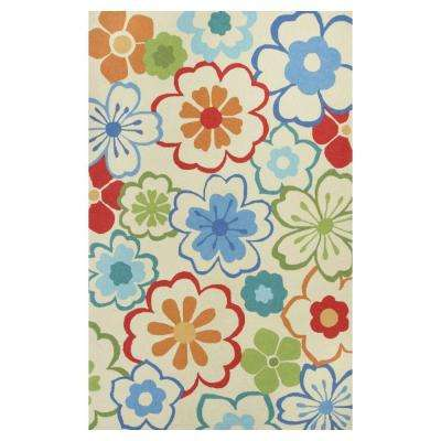 Flowers at Play Ivory/Blue 5 ft. x 8 ft. Area Rug