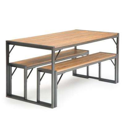Tristan 3 Piece Solid Elm Wood And Metal 63 In Wide Industrial Modern Dining