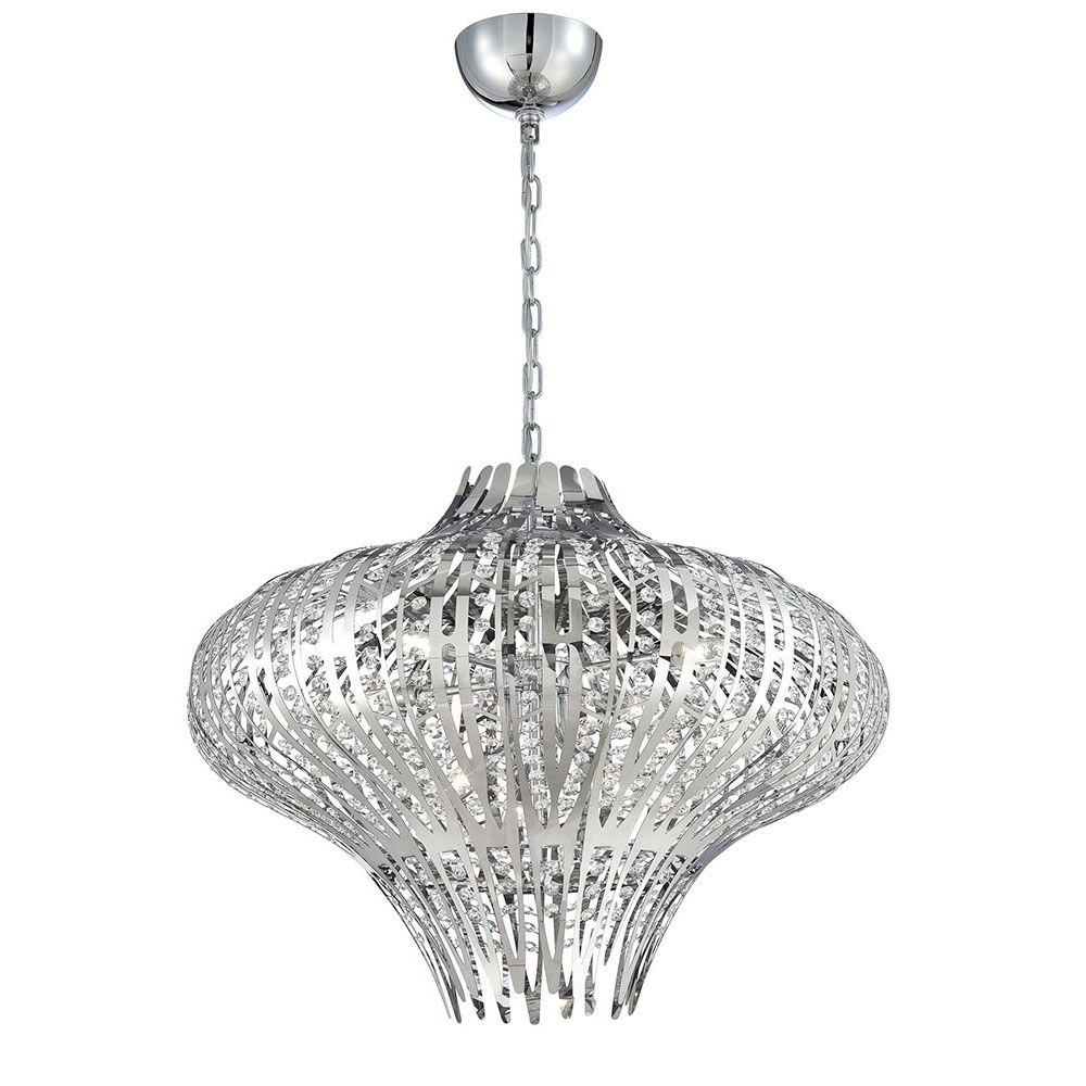 Monica 9-Light Chrome and Clear Chandelier