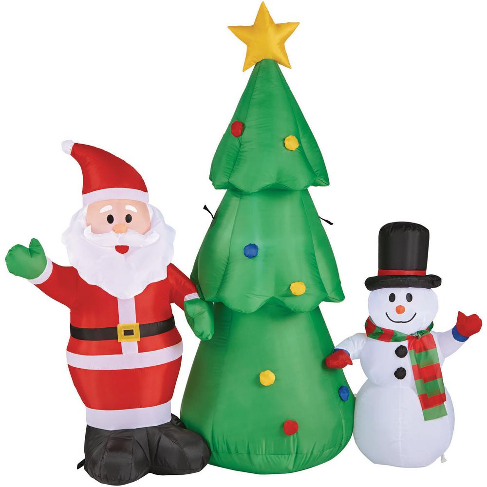 Inflatable Christmas Tree.Home Accents Holiday 5 Ft Pre Lit Life Size Airblown Inflatable Santa Snowman And Christmas Tree Scene