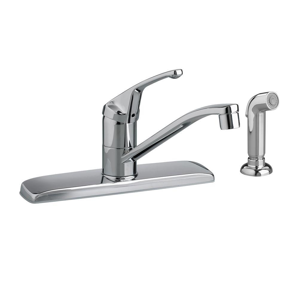 American Standard Colony Single-Handle Standard Kitchen Faucet with Side Sprayer in Polished Chrome