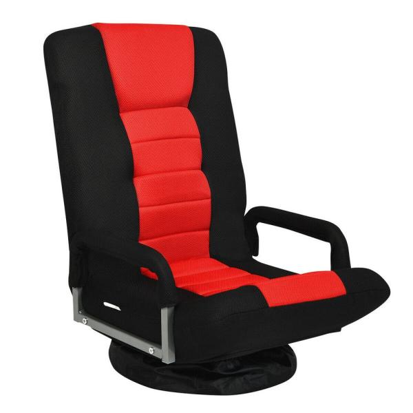 Costway 360 Red Swivel Gaming Floor Chair With Foldable Adjustable Backrest Hw65937re The Home Depot