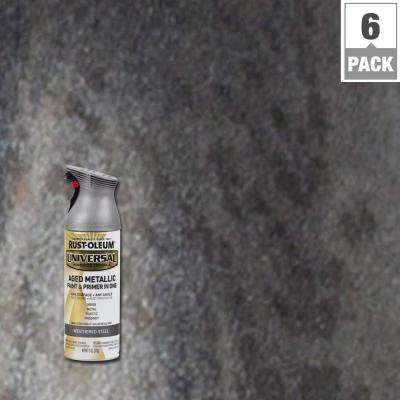 12 oz. All Surface Aged Metallic Weathered Steel Spray Paint and Primer in One (6-Pack)