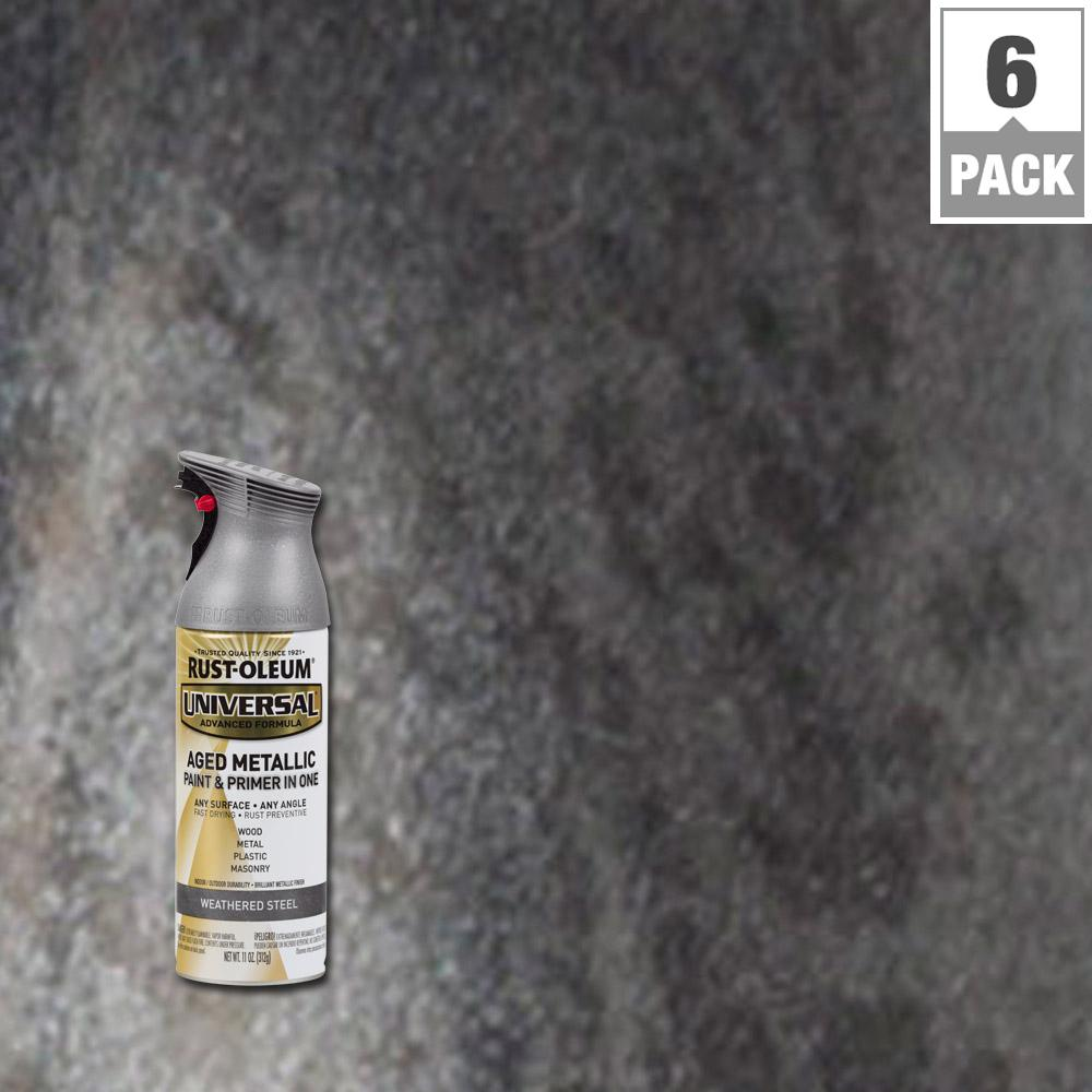 Rust-Oleum Universal 11 oz. All Surface Aged Metallic Weathered Steel Spray Paint and Primer in One (6-Pack)