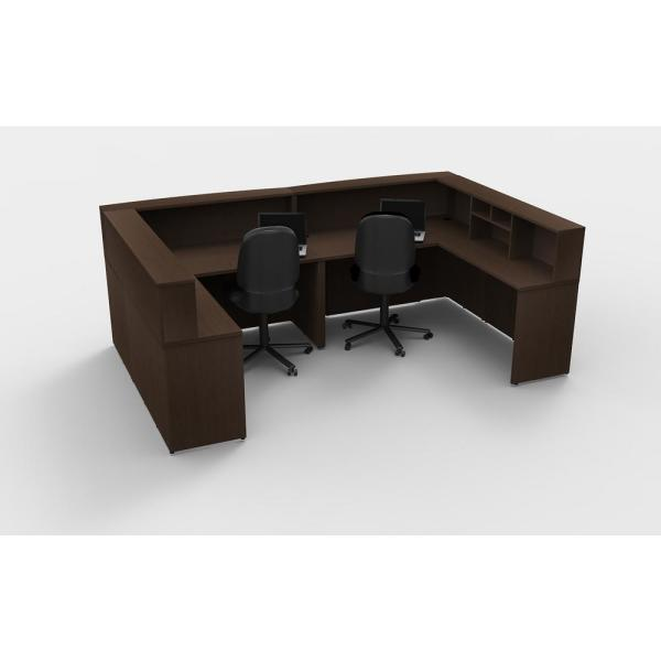 OfisLITE 8-Piece Espresso Office Reception Desk Collaboration Center