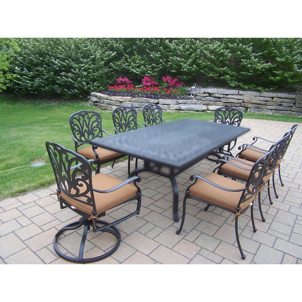 Cast aluminum 9 piece rectangular patio dining set with sunbrella cushions