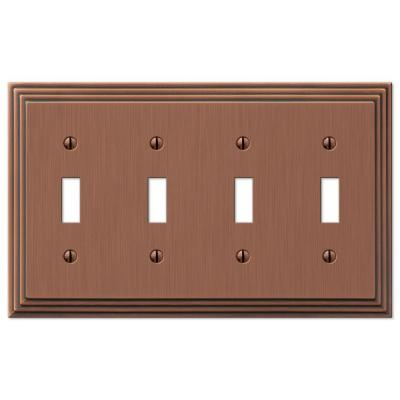 Tiered 4 Gang Toggle Metal Wall Plate - Antique Copper