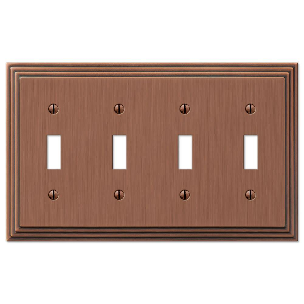 Hampton Bay Steps 4 Toggle Wall Plate - Antique Copper