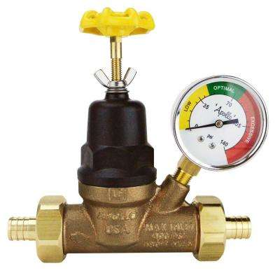 3/4 in. Bronze Double Union PEX Water Pressure Regulator  with  Gauge