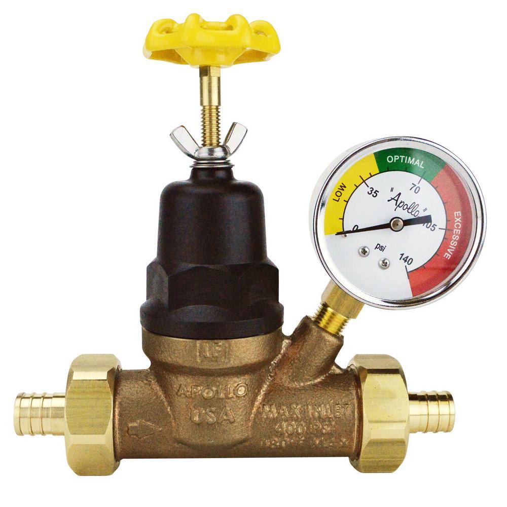 3/4 in. Bronze Double Union PEX Water Pressure Regulator with Gauge