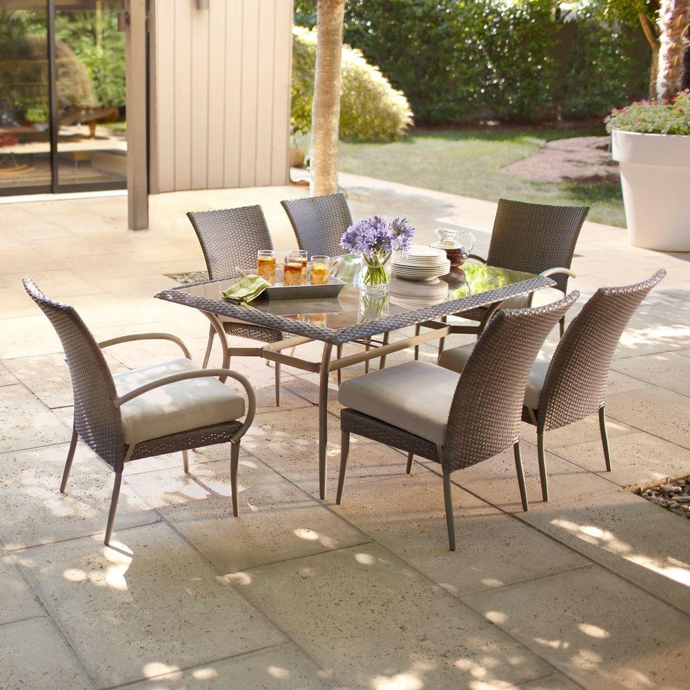 Hampton Bay Posada 7 Piece Patio Dining Set With Gray Cushions 153 120 7d The Home Depot