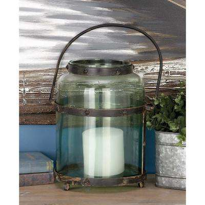 Rustic Farmhouse Green Glass Candle Lantern