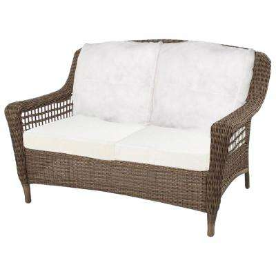 Spring Haven Grey Wicker Outdoor Patio Loveseat with Cushions Included, Choose Your Own Color