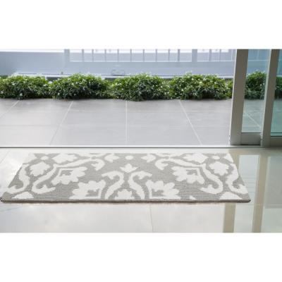Mayhew Damask Light Grey/White 3 ft. x 5 ft. Accent Rug