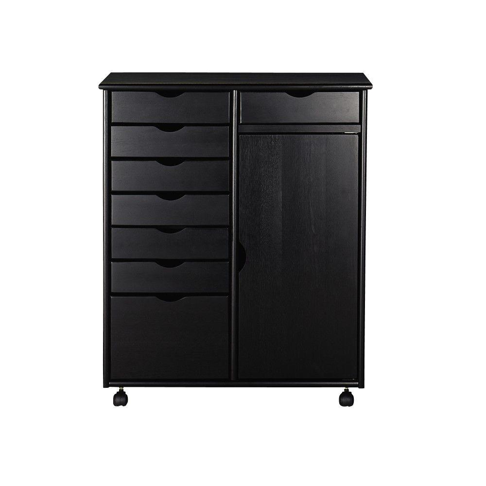 Stanton 29 in. Black 8-Drawer Double Wide Storage Cart