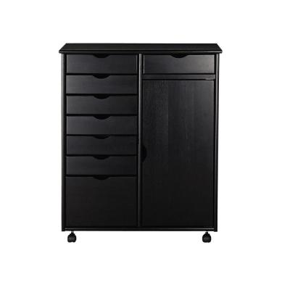 Stanton 29 in. Black 8-Drawer Double Wide Storage Cart