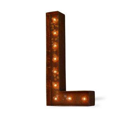 Modern American 24 in. High Rusted Steel Alphabet Letter L Plug-In Marquee Lights