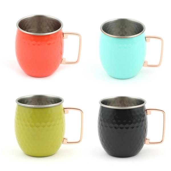 20 oz. Hammered Stainless Steel Poppy, Turquoise, Slate, and Lemongrass Moscow Mule Mugs (4-Pack)