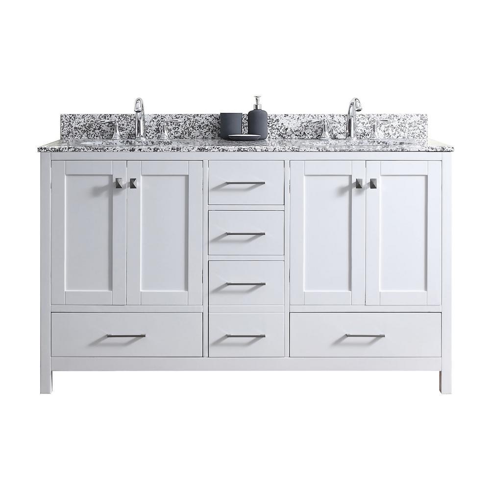 Caroline Madison 60 in. W Bath Vanity in White with Granite Vanity Top in Arctic White Granite with Round Basin