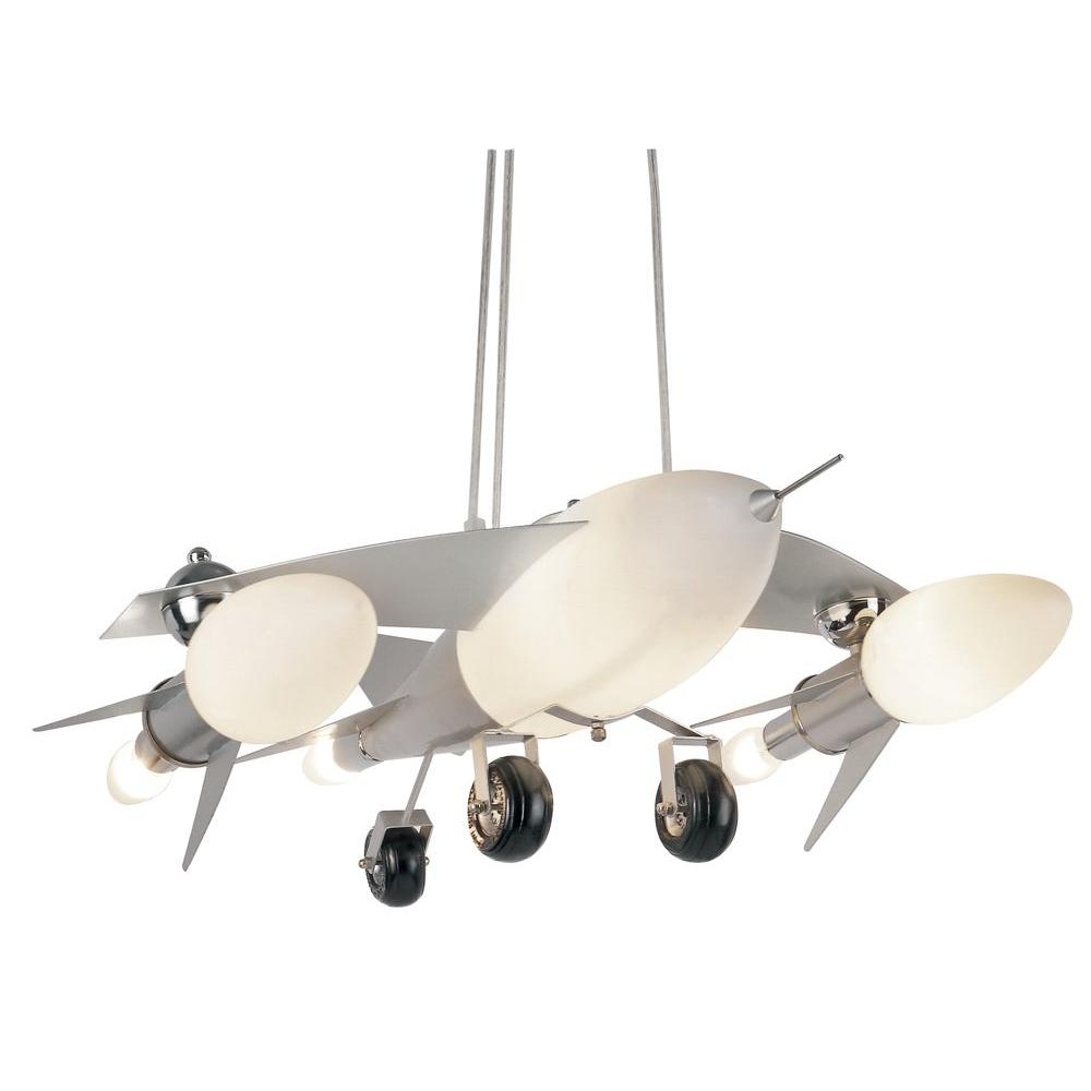 Bel Air Lighting Jet Airplane 6 Light Frosted Glass Pendant With Silver Frame