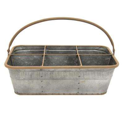 13.75 in. x 8.5 in. Metal Basket in Gray