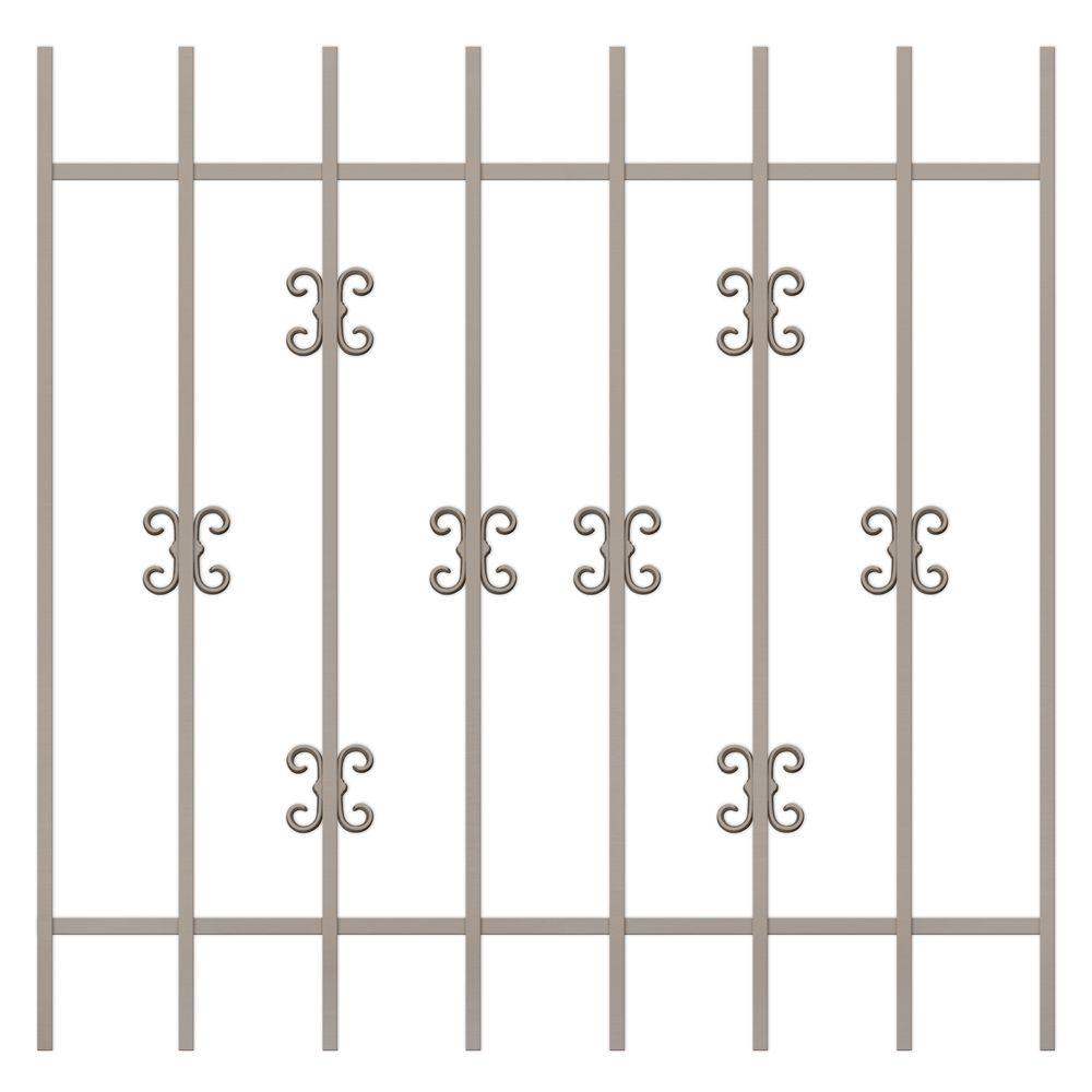 Unique Home Designs Moorish Lace 42 in. x 42 in. Tan 8-Bar Window Guard-DISCONTINUED