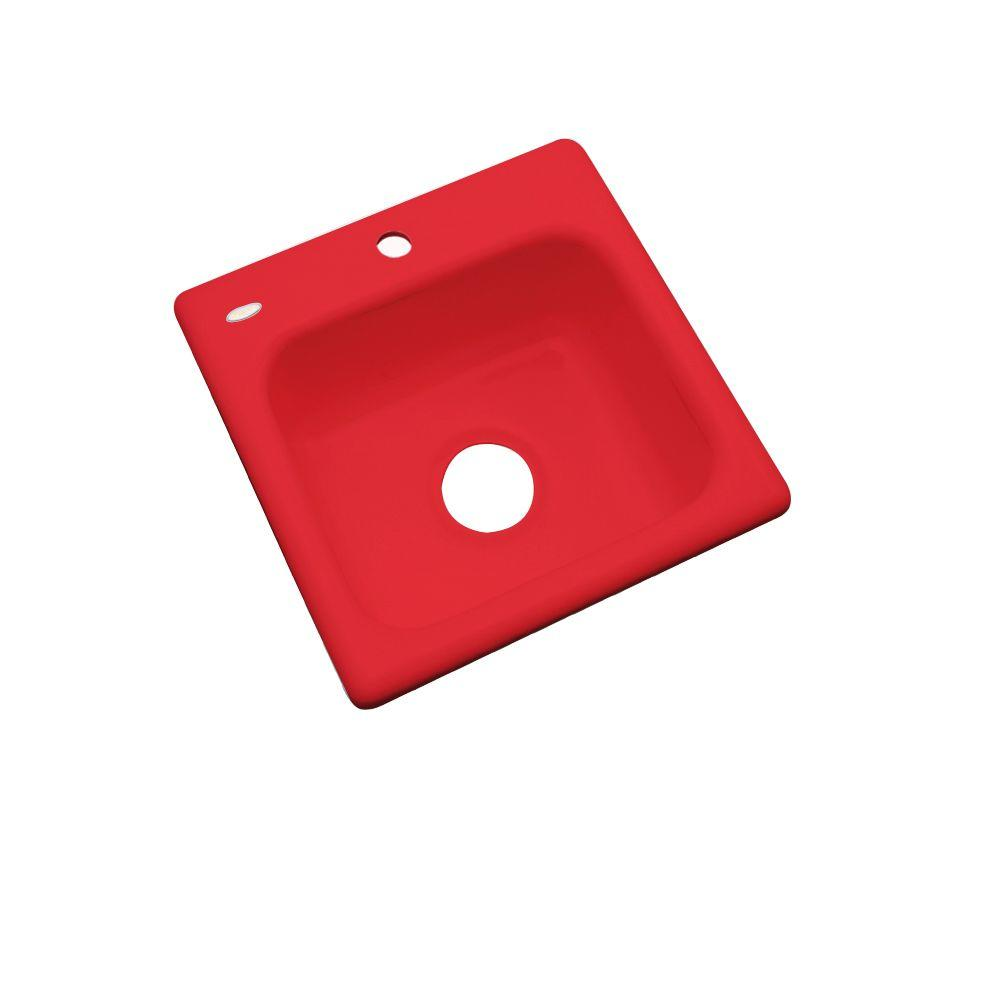 Thermocast Manchester Drop-In Acrylic 16 in. 1-Hole Single Basin Entertainment Sink in Red