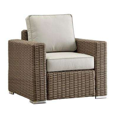 Camari Mocha Square Arm Wicker Outdoor Patio Lounge Chair with Beige Cushion