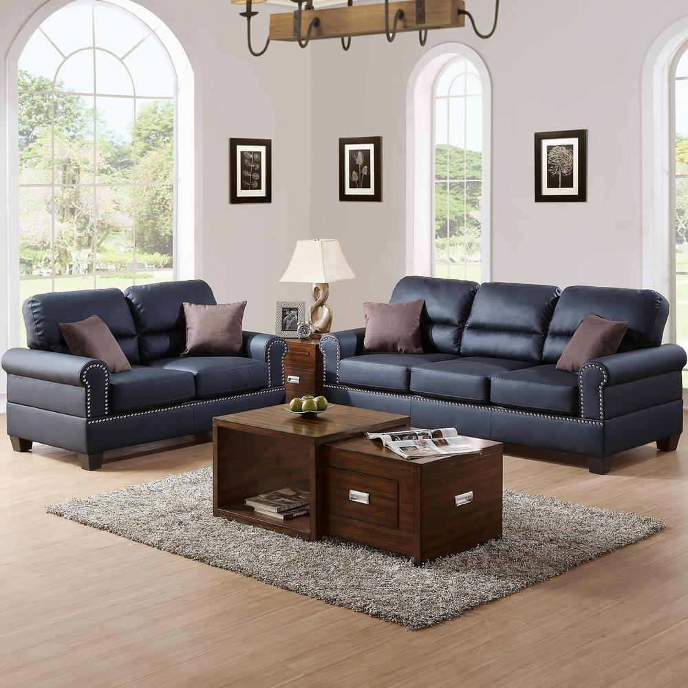 Black Living Room Furniture: Venetian Worldwide Sibillini 2-Piece Black Sofa Set Bonded