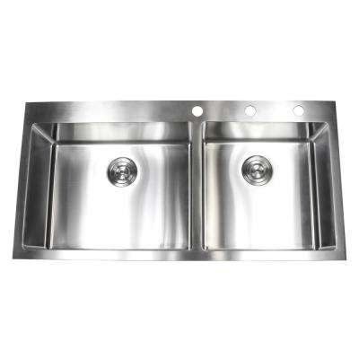 Drop-in Top Mount 16-Gauge Stainless Steel 42-7/8 in. x 21-1/2 in. x 10 in. 60/40 Offset Double Bowl Kitchen Sink