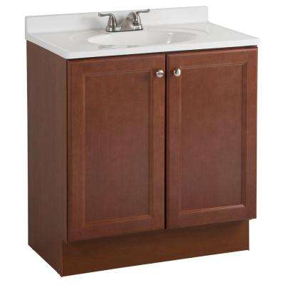 All-In-One 30 in. W Bath Vanity Combo in Amber with Cultured Marble Vanity Top in White