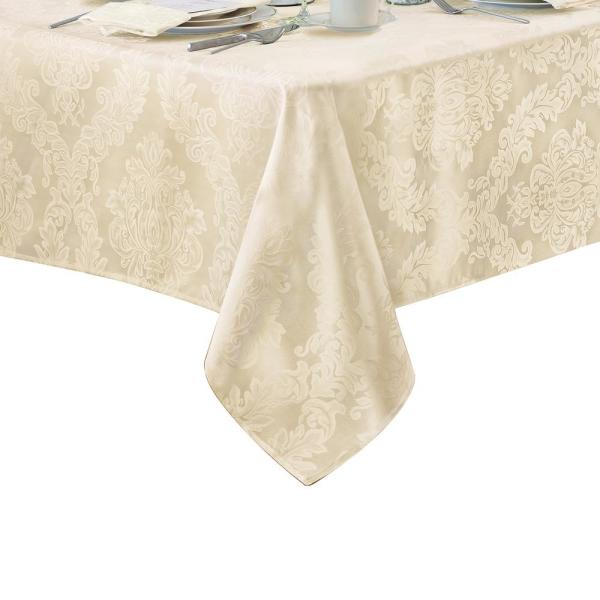 Elrene 60 in. W x 144 in. L Antique Elrene Barcelona Damask Fabric Tablecloth