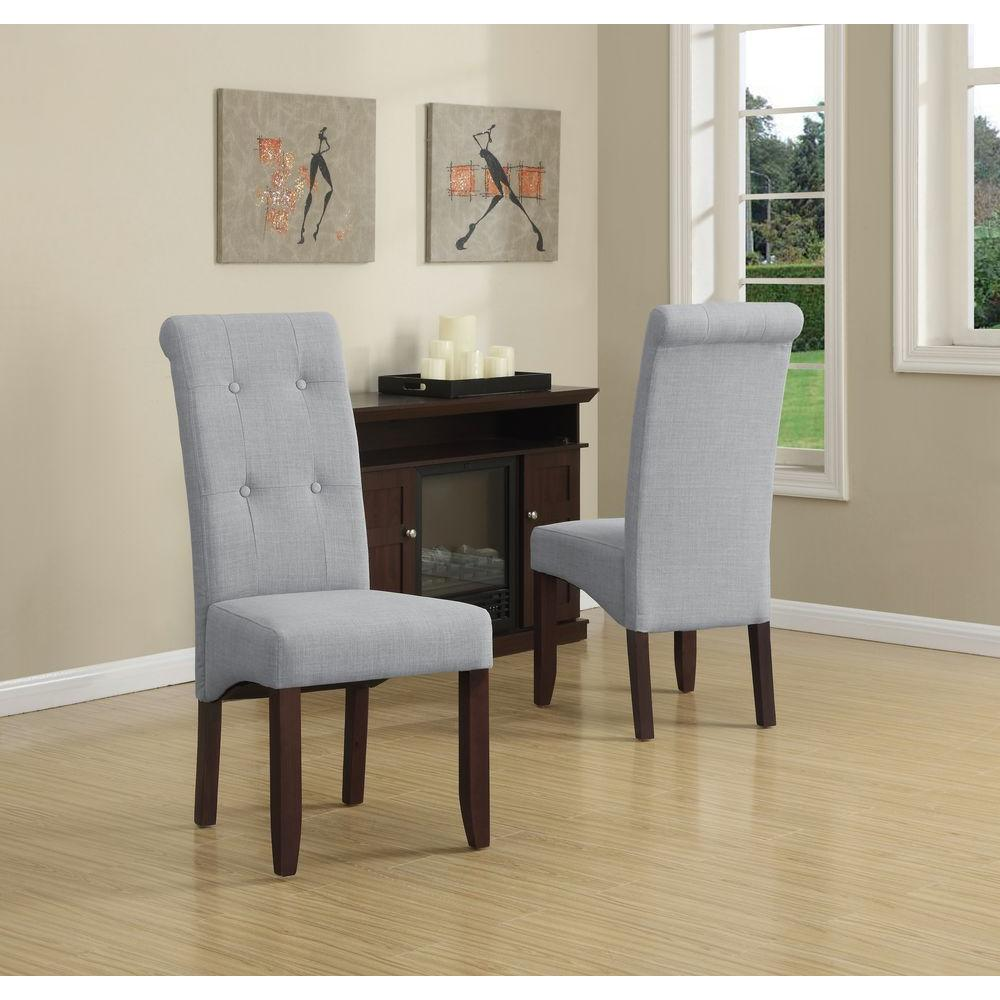 Charming Simpli Home Cosmopolitan Dove Grey Parsons Dining Chair (Set Of 2)