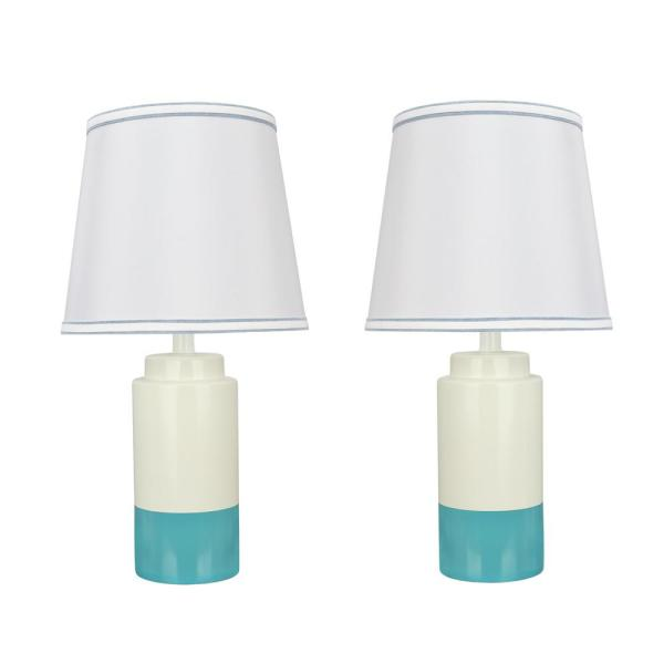 18-1/2 in. Off White and Sky Blue Ceramic Table Lamp with Empire Shaped Lamp Shade in Off White (2-Pack)