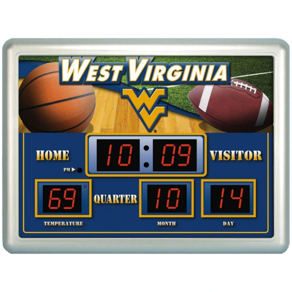null West Virginia University 14 in. x 19 in. Scoreboard Clock with Temperature