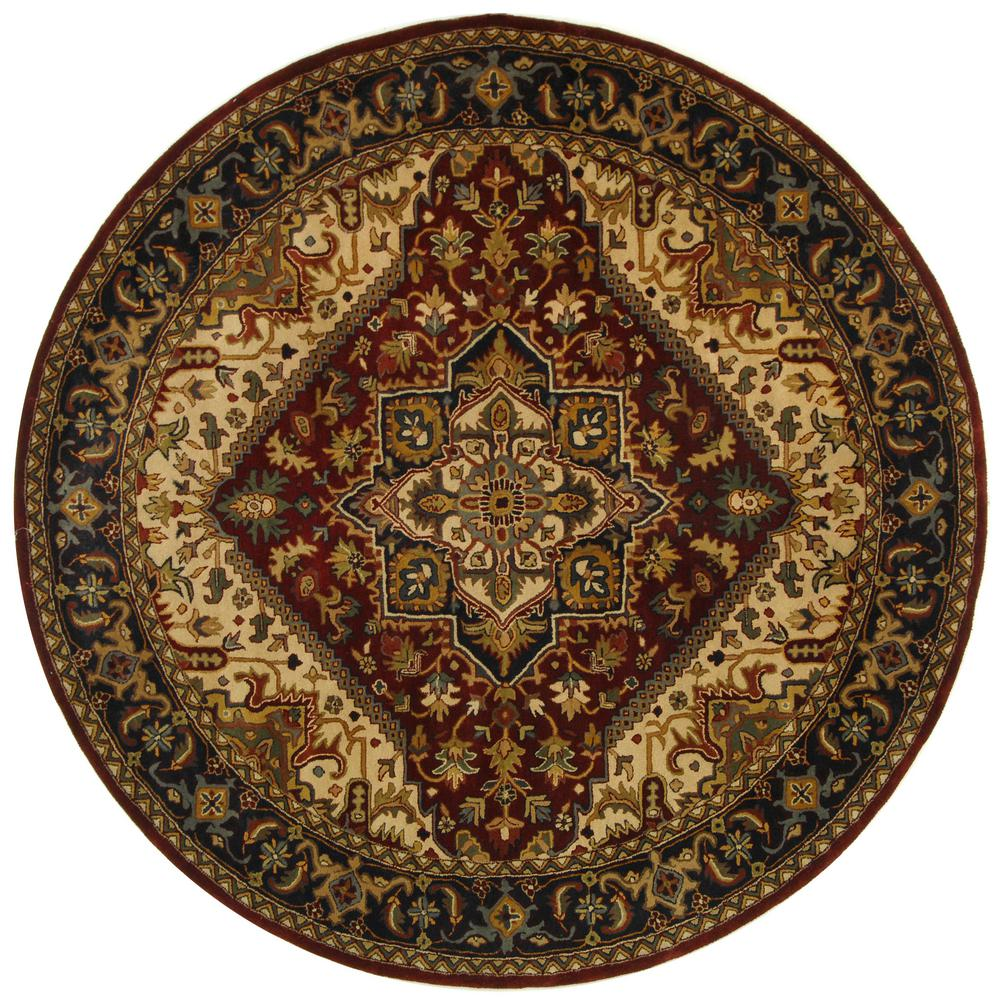 Classic Assorted/Red 8 ft. x 8 ft. Round Area Rug