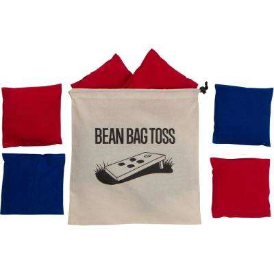 High Quality Bean Bags 1 lb. Bags with Stitched Duck Cloth with Carry Bag (Set of 8, 4 Red and 4 Blue)