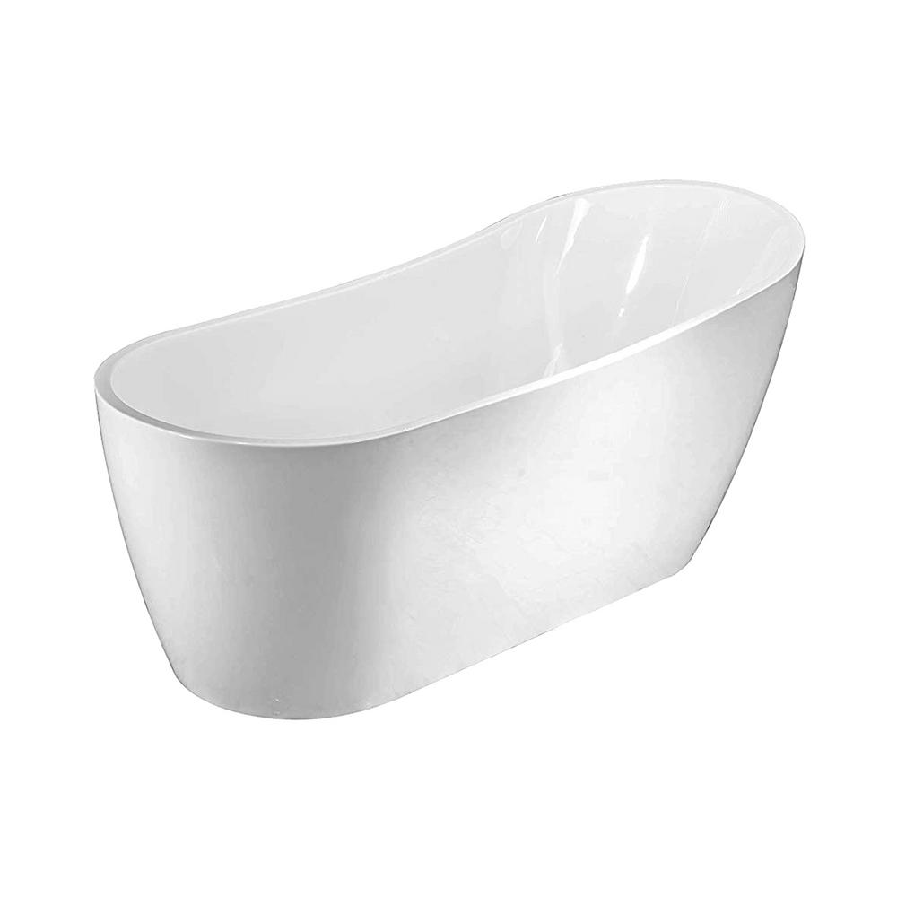 Vanity Art Clermont 59 in. Acrylic Freestanding Flatbottom Bathtub in White