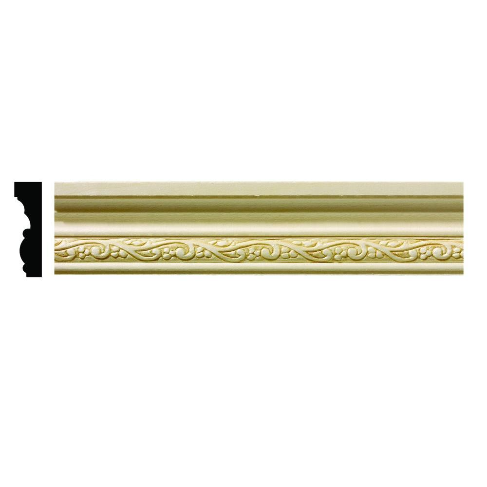 Ornamental Mouldings 1610 1/2 in. x 1-3/4 in. x 6 in. Hardwood White Unfinished Whimsey Small Chair Rail Moulding Sample
