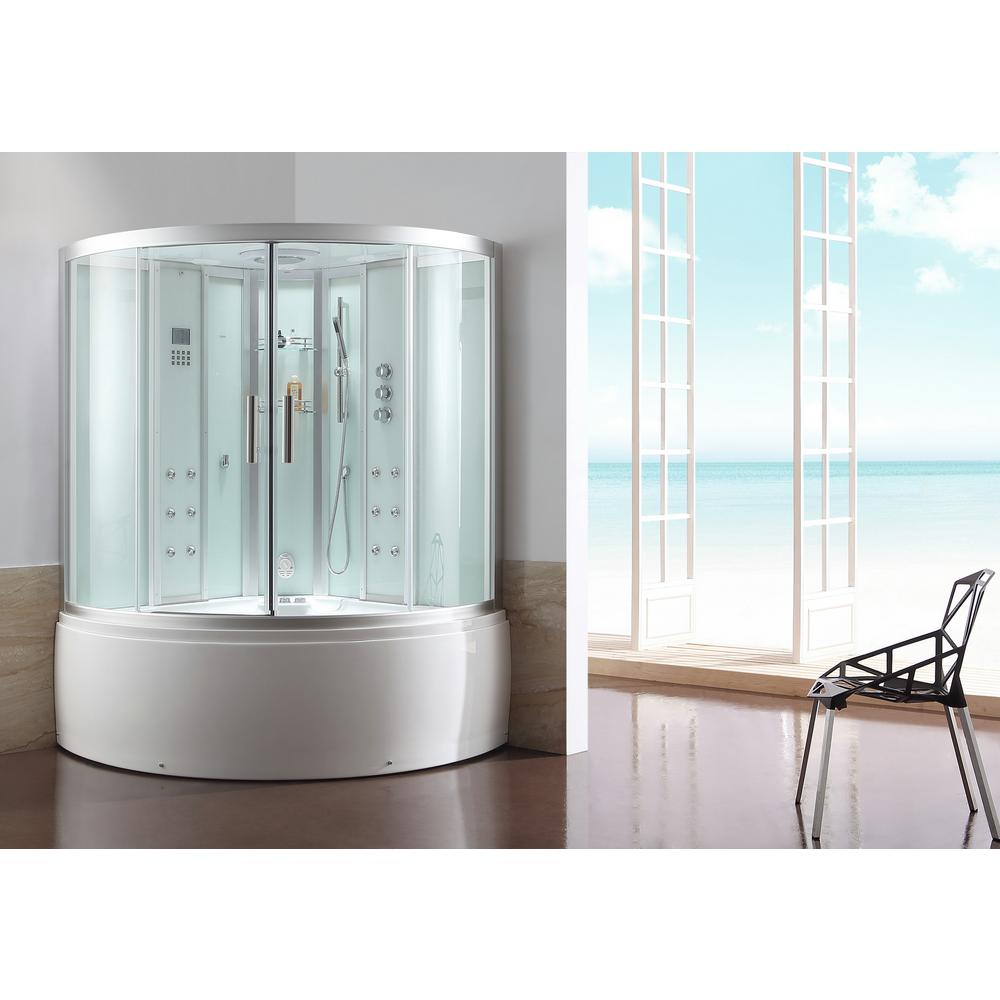 Ariel Platinum 59 In X 89 Steam Shower Enclosure Kit With Whirlpool Tub White