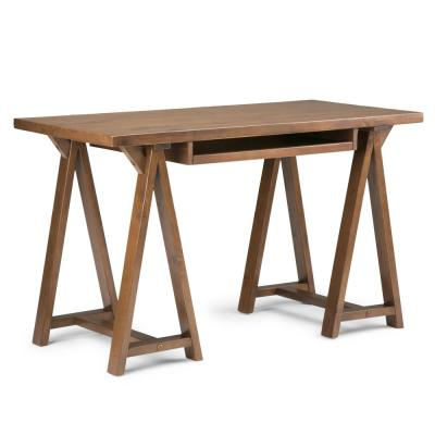 Sawhorse Solid Wood Modern Industrial 50 in. Wide Modern Industrial Small Writing Office Desk in Medium Saddle Brown