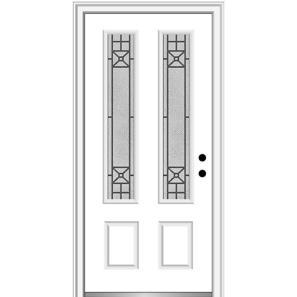 MMI Door 36 in. x 80 in. Courtyard Left-Hand 2 Lite Decorative Painted Fiberglass Smooth Prehung Front Door, 4-9/16 in. Frame, Brilliant White was $1686.52 now $1097.0 (35.0% off)