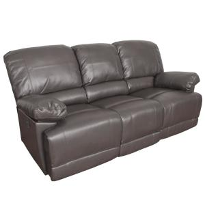 CorLiving Lea 2-Piece Brownish Grey Bonded Leather Power ...