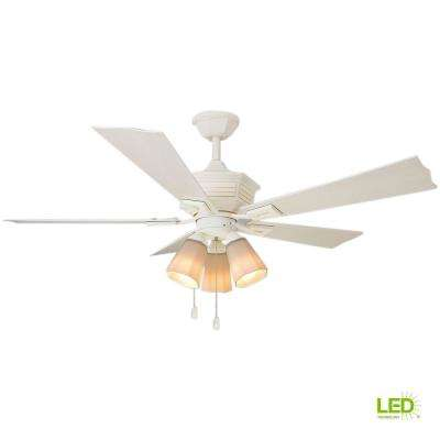 Pembroke 52 in. LED Indoor/Outdoor Distressed White Ceiling Fan with Light Kit