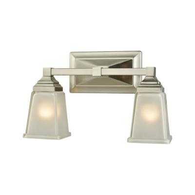 Sinclair 2-Light Brushed Nickel With Frosted Glass Bath Light