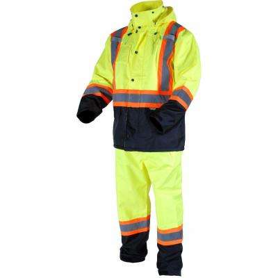 Men's Large Yellow High-Visibility Reflective Safety Rain Suit