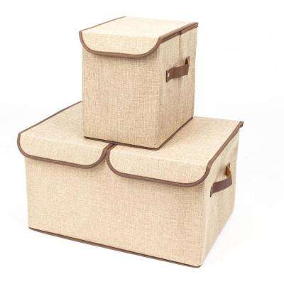 Khaki Fabric Storage Boxes Double Cover Box and Single with Cover Box (2-Piece)